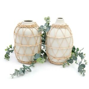 Rattan Woven Bamboo Ceramic Rattan Decorative Flower Vase Boho Style - 2 Designs