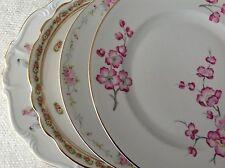 """Set 4 Vintage Mismatched China Dinner Plates 9.75"""" to 10.25""""  Pink Florals"""