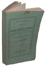 Catalogue des Manuscrits Egyptiens écrits sur Papyrus, Tablettes.. Louvre 1872