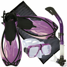 Adult Snorkeling Diving Gear Combo Set Goggle Mask Dry Snorkel Fins Flippers