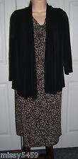APT 9 Women's Brown Print Sleeveless Dress w/Attached Black Blazer Size Small