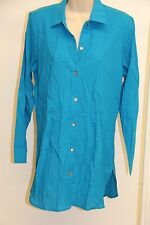 Tommy Bahama Swimsuit Cover Up Dress Boyfriend Shirt Sz M Blue Crinkle Cotton
