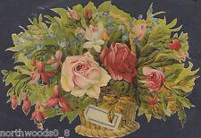 ARRANGEMENT ROSE PINK BASKET CARD BUD DECOUPAGE EMBOSSED GERMAN PAPER SCRAP CARD