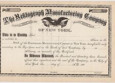 THE HEKTOGRAPH MANUFACTURING COMPANY....1880'S UNISSUED STOCK CERTIFICATE