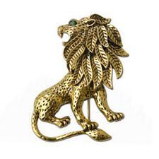 Vintage Unisex Alloy Lion Brooch Pin Gold Plated for Suit Clothing S5Z3