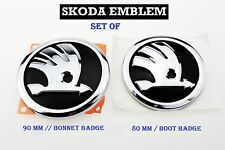 Conjunto De Sombrero frente emblema posterior de arranque Skoda insignia símbolo Logo 90mm 80mm