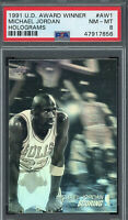 Michael Jordan 1991 Upper Deck Award Winner Hologram Basketball Card #AW1 PSA  8