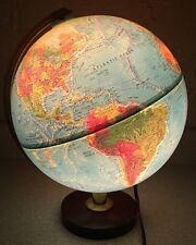 "Vintage Replogle 12"" World Horizon Series Light Up Raised Globe Wood Base Lamp"