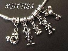 5pcs Mickey Mouse Silver European Bracelets Charms Minnie Bear Ears Keys lot