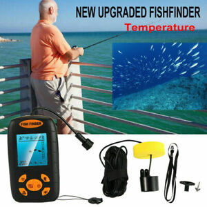 100m Portable Fish Finder Echo Sonar Alarm Sensor Transducer Fishfinder US Stock