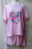 Schönes Damen Schlafanzug /Pyjama Kurz Arm,Kurz Hose mit Frontdruck  bunt