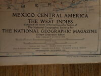 1939 Mexico Central America West Indies National Geographic Map Vintage