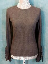 new MANGO Ladies Jumper Size S Gray Ribbed Fancy Sleeve Crew Neck Career Snug