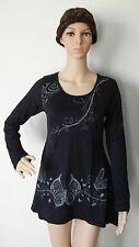LD99 COTTON DRESS NEPAL: Multi-color Floral Funky Butterfly Bohemian Tunic Top M