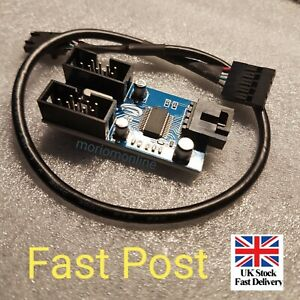Motherboard USB 9P 9Pin Header Splitter 1 to 2 Extension Cable Port 25-30CM