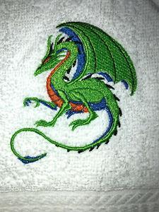 Embroidered Bathroom Hand Towel Crouching Green/Blue/Orange   Dragon HS1667