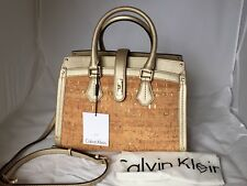 Calvin Klein Metallic Trim Cork Satchel