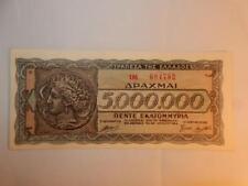 VINTAGE CURRENCY GREECE 5,000,000 5 MILLION DRACHMAI P-128 PAPER MONEY 1944 UNC