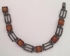 Antique/Vintage Sterling Silver Amber Bracelet