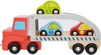 jumini Wooden Pull Along Car Carrier 3 Cars Toy Trailer Transporter Lorry 19M+