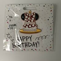 "Disney Store Minnie Mouse ""Happy Birthday""  Cake Pin~Enameled Cloissonné New"
