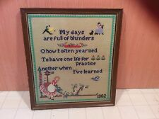 """Vintage 1962 Needle Point """"My Days Are Full Of Blunders"""" Picture Frame W/Glass"""