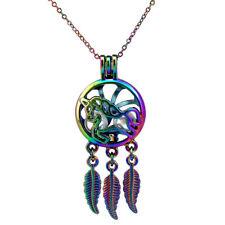 Rainbow Color Dream Catcher Unicorn Leaf Pearl Beads Cage Locket Necklace C751
