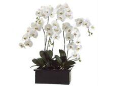 """42"""" Phalaenopsis Orchid Plant in Terra Cotta Pot White Green Silk Flower Decor"""