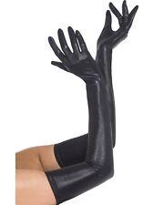 Gants longs 50cm effet mouillé wetlook noirs sexy glamour burlesque pinup