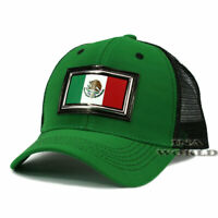 MEXICAN hat PVC MEXICO Flag Patched Pique Snapback Mesh Baseball cap- Green