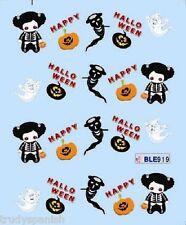 Halloween Nail Art Water Decals Transfers Ghosts Spiders Pumpkins Gel Polish 919