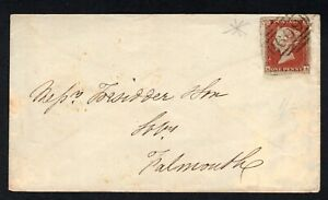GB QV 1853 1d Red imperf 4m on Cover from Penzance to Falmouth cds