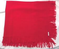 CHURCHILL HANDWOVEN Red Fringed Throw- 47 x 23 inches-EUC