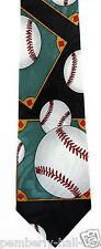New Baseball Diamond Mens Necktie Game Ball Coach Team Sports Fan Gift Neck Tie