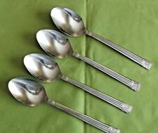 Farberware Stainless 4 Soup Spoons Tiamo Pattern Indonesia Glossy Ridges 7 3/8""