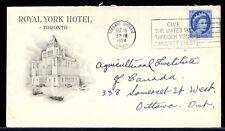 ROYAL YORK HOTEL 1954 slogan Wilding issue 5c  cover Canada