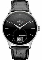 Edox Les Vauberts Black Dial Black Leather Strap Men's Swiss Watch 34005-3N-NIN