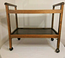 VINTAGE MID CENTURY MODERN WOODEN 2 TIER ROLLING BAR TV RETRO CART FAUX WOOD
