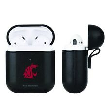 Washington State Cougars Ncaa Fan Brander Black Leather AirPod Case