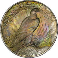 1923 $1 PCGS MS63 PEACE DOLLAR ~ PASTEL RAINBOW ROLL-END TONING!