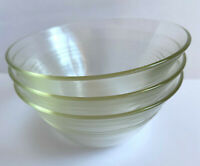 3 Vtg PYREX Clear Glass w Yellow Custard Cups Bowls Set #445 3 Rings Smooth Edge