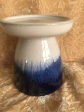 BATH & BODY WORKS WHITE BARN Large Blue & Cream Artisan Ceramic Candle Stick