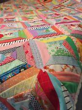 Vintage Quilt 60's Patchwork Hand Made Machine Stitched