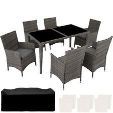 6+1 Rattan Mobili da giardino in alluminio sedia tavolo Set all'aperto in vimini da esterno grigio