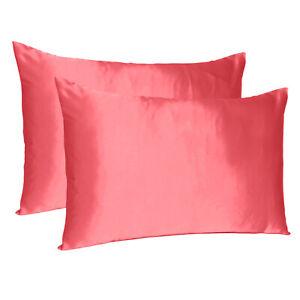 Set of 2 Silky Satin Pillowcase Pillow Case Cushion Cover Standard Queen King