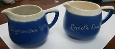 Vintage Devonware Blueware 2 COFFEE CRAMER/ MILK JUGS LANDS END SYMONDS YAT
