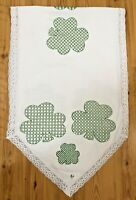 """Vintage Handmade 49"""" Shamrocks Table Runner Scarf Embroidered Cotton Lace White"""