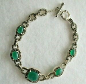 "Sterling 8"" Marcasite & Green Chalcedony- Station Bracelet-New"