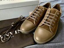 Lanvin Men's Size US 13 Green Suede & Calfskin Leather Cap-toe Sneakers, Low Top