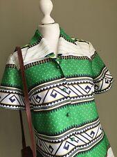 VINTAGE 70s GREEN Navy Yellow Dagger Collar MOD Dress - Aztec Psych VTG Retro-14